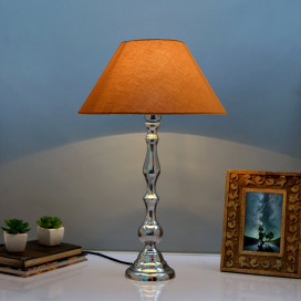 Teardrop Chrome Lamp with Golden Shade