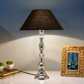 Teardrop Chrome Lamp with Black Shade