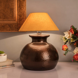 Antique Copper Hammered Pitcher Table Lamp with Golden Shade