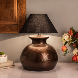 Antique Copper Hammered Pitcher Table Lamp with Black Shade