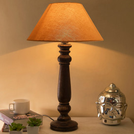 Mabel Antique Black Wood Table Lamp with Golden Shade