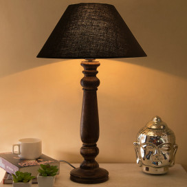 Mabel Antique Black Wood Table Lamp with Black Shade