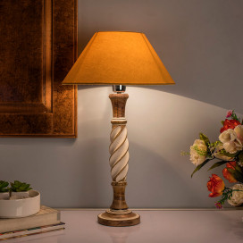 Antique White Twister Wooden Table Lamp with Golden Shade