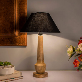 Classic Cubist Wooden Table Lamp, with Black Shade