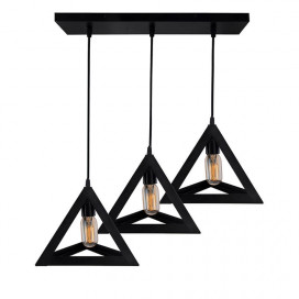 "3-Lights Linear Cluster Chandelier Triangle 6"", E27 Holder, Decorative, Black, Kitchen Area and Dining Room Light, LED/Filament Light"