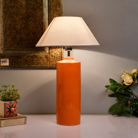Ceramic Base Orange Table Lamp with Shade, LED Bulb