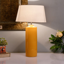 Ceramic Base Yellow Table Lamp with Shade, LED Bulb