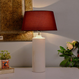 Ceramic Base White Table Lamp with Shade, LED Bulb