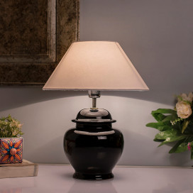 Ceramic Pot Shaped Base Black Table Lamp with Cone Shade, LED Bulb