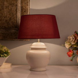 Ceramic Pot Shaped Base White Table Lamp with Shade, LED Bulb