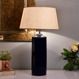 Ceramic Base Blue Table Lamp with Shade, LED Bulb