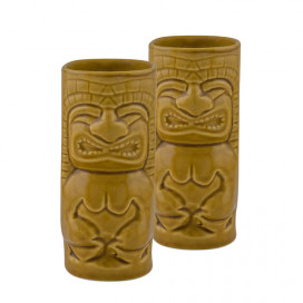 Handcrafted Ceramic Rustic Yellow Beer Mug 450 ml, Tiki Tropical Bar Cocktail Mug, Set of 2