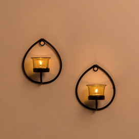 Set of 2 Decorative Black Drop Wall Sconce/Candle Holder With Yellow Glass and Free T-light Candles