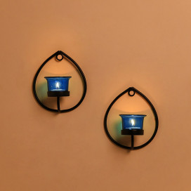 Set of 2 Decorative Black Drop Wall Sconce/Candle Holder With Blue Glass and Free T-light Candles