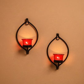 Set of 2 Decorative Black Eye Wall Sconce/Candle Holder With Red Glass and Free T-light Candles