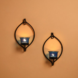 Set of 2 Decorative Black Eye Wall Sconce/Candle Holder With Blue Glass and Free T-light Candles