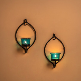 Set of 2 Decorative Black Eye Wall Sconce/Candle Holder With Turquoise Glass and Free T-light Candles