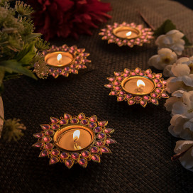 Pink Crystal Diya with T-Light- Set of Four Silver Plates, Candle Holder Stand with Free Candle