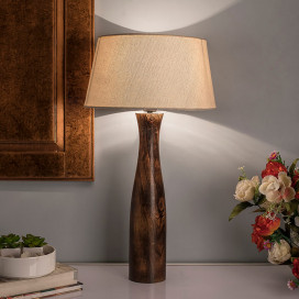 Antique Solid Timber Turned Table Lamp with Shade