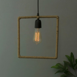 Modern Metal Pendant Lights Hemp Rope Decor Hanging Lamp E27 Loft Ceiling Light with Filament Bulb, Square
