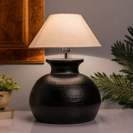 Matt Black Hammered Pitcher Table Lamp with Shade