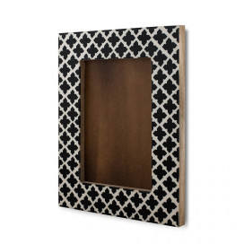 "Moroccan Cross-Style Wood & Resin Photo Frame, Handmade Wall Hanging Picture Frame (Fits 4"" X 6"" Photo)"