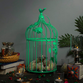 Sea Green Bird Cage with Floral Vine (Set of 2), with Hanging Chain