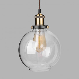 Industrial Kitchen Glass Globe Pendant Light , Antique Filament Hanging Ceiling Fixture