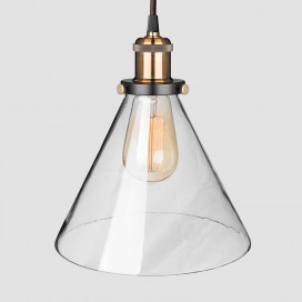 Industrial Kitchen Glass Cone Pendant Light , Antique Filament Hanging Blown Glass Ceiling Light