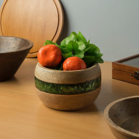 Rustic Wood Resin Hand Turned Bowl,Serving Snacks Chips Centre Piece Bowl