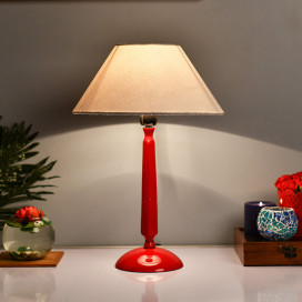 Glossy Red Cubist Aluminium Table Lamp With Shade, Bedside, Living Room Study Lamp, Bulb Included