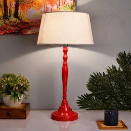 Glossy Red Imperial Aluminium Table Lamp With Shade, Bedside, Living Room Study Lamp, Bulb Included