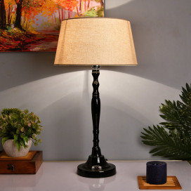 Glossy Black Imperial Aluminium Table Lamp With Shade, Bedside, Living Room Study Lamp, Bulb Included