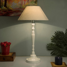 Glossy White Imperial Aluminium Table Lamp With Shade, Bedside, Living Room Study Lamp, Bulb Included