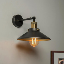 Edison Cone Shade Wall Lamp, Vintage Industrial Loft, E27 Holder, Decorative, Swing Wall Light