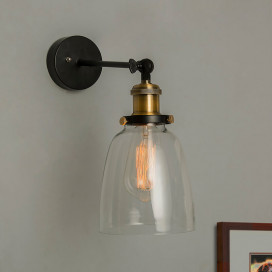 Edison Industrial Glass Bell Wall Lamp, Antique Vintage Industrial Loft, E27 Holder, Decorative, Swing Wall Light, Filament/LED