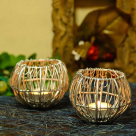 Wire Tangle Silver T-Light Holder Set of 2 Small, Metal Candle Holder Stand with Free Candle