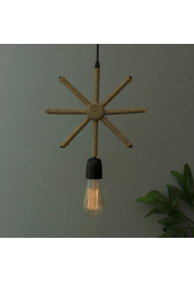 Modern Metal Pendant Lights Hemp Rope Decor Hanging Lamp E27 Loft Ceiling Light with Filament Bulb, Snowflake