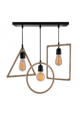 3-Lights Linear Cluster Chandelier Hemp Rope Rectangle, Triangle, Round Hanging Pendant Light with Braided Cord