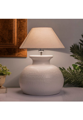 Matt White Hammered Pitcher Table Lamp with Shade