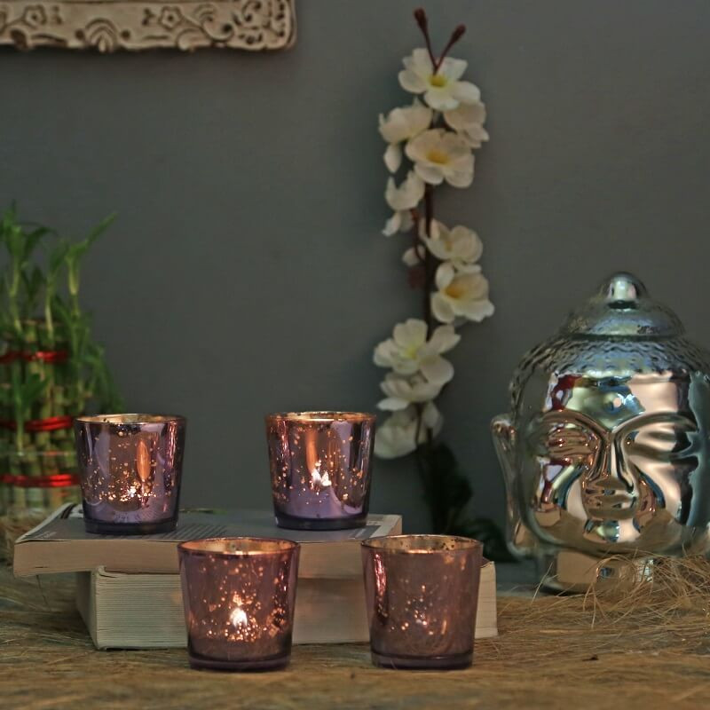 Lilac Violet Mercury Silver T-light Holder, Glass Candle Holder Stand with Free Candle
