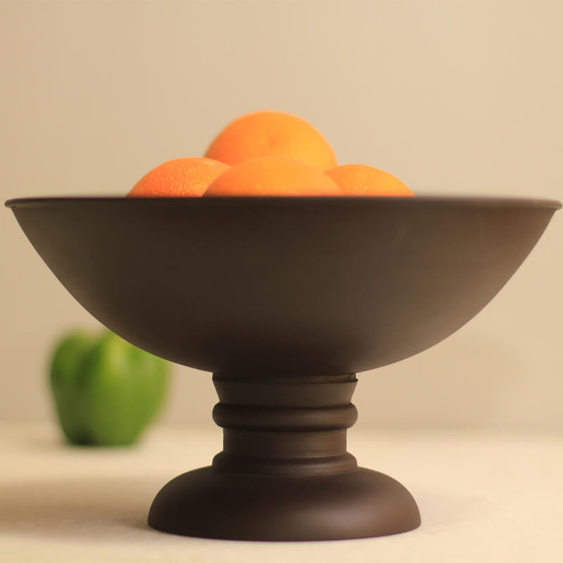 Vintage Black Wood Bowl with Stand- Large