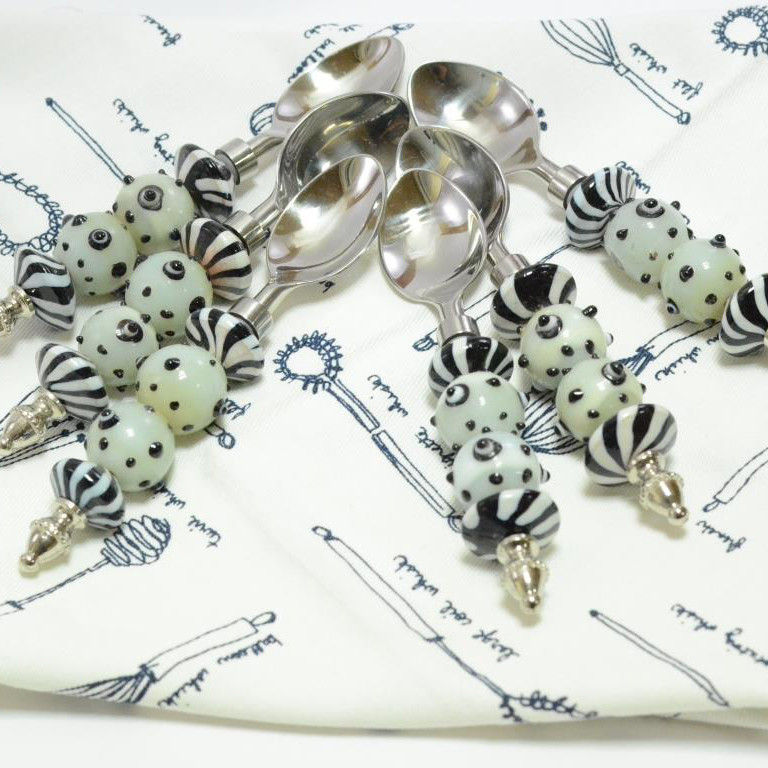 White Glass Bead handle and Polka Dots spoon