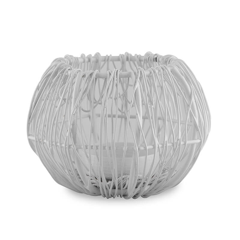 Wire Tangle Small Votive White, Metal Candle Holder Stand with Free Candle