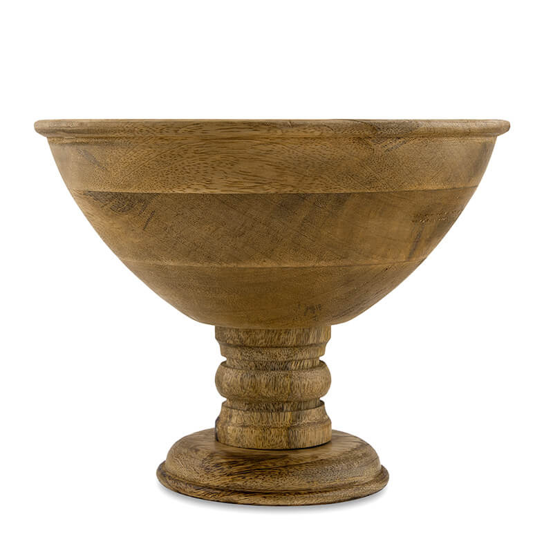 """Vintage Wood Bowl With Stand-Natural Large 10"""""""