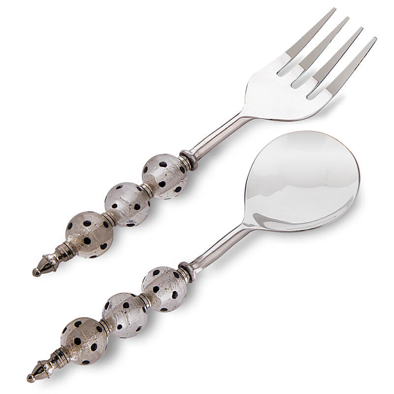 Noodle,Pasta Server and Serving Spoon Set of 2, Stainless Steel with Round Silver-Glass Bead Handle