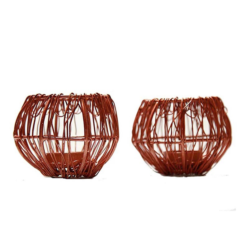 Wire Tangle Copper T-Light Holder Set of 2 Small, Metal Candle Holder Stand with Free Candle