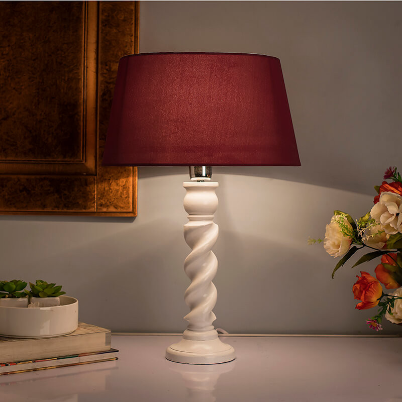 Classic Twister Table lamp white with Red Shade
