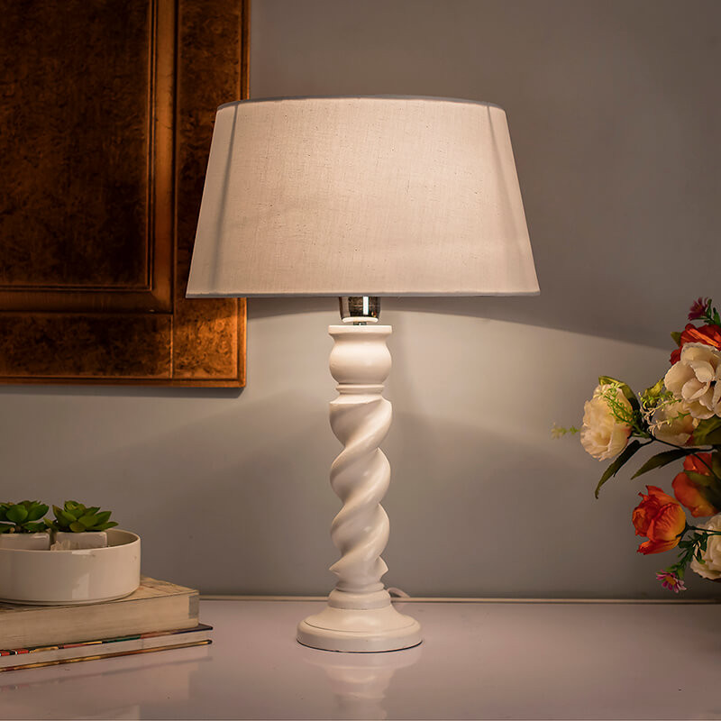Classic Twister Table Lamp White With White Drum Shade