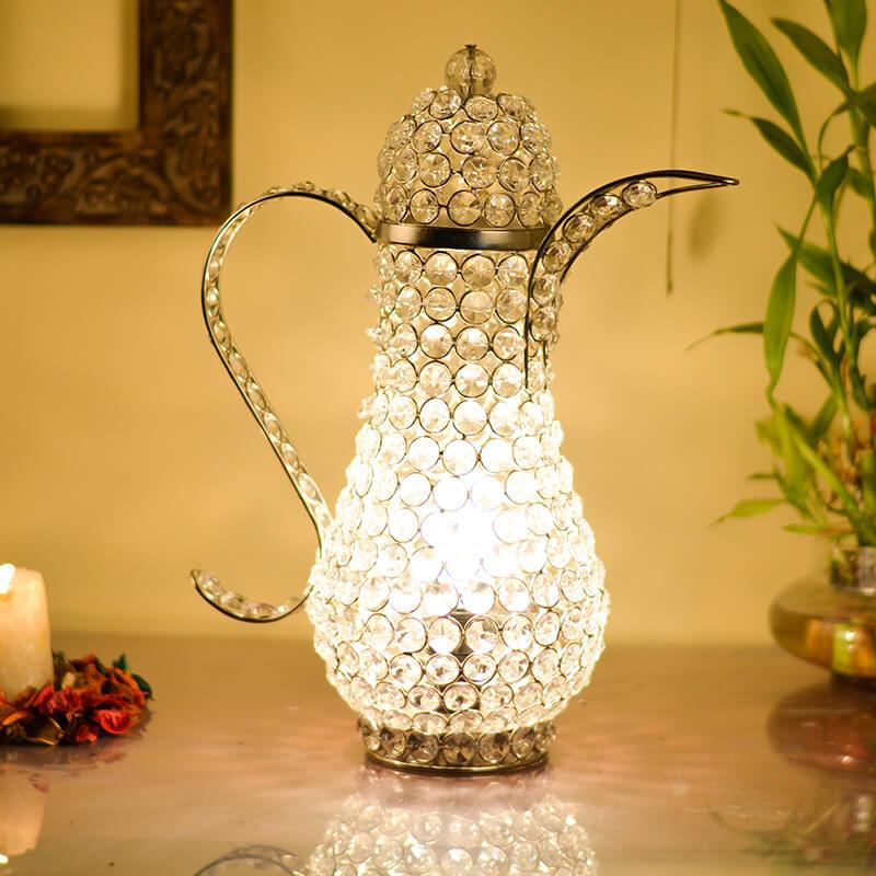 Vintage Crystal Surahi Table Lamp